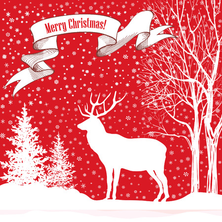 Christmas background. Snow winter landscape with deer and fir tree. Merry Christmas greeting card. Vector
