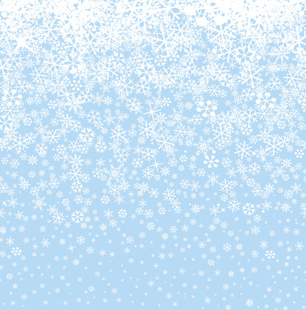 Snow background. Snowflakes seamless pattern. Winter snowy seamless border wallpaper. Vector