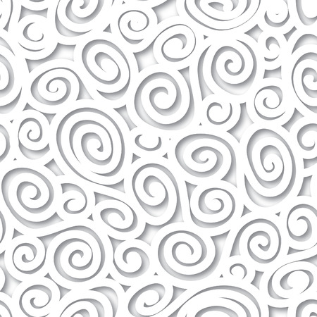 Abstract white background in 1960s style.Geometric lined seamless pattern. Spiral texture. Black and white structure Vector