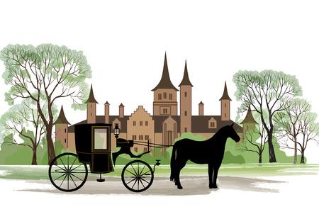 古い都市公園の背景の上の馬キャリッジ。  イラスト・ベクター素材