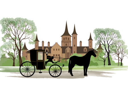 Carriage with horse over old city park background. Vectores