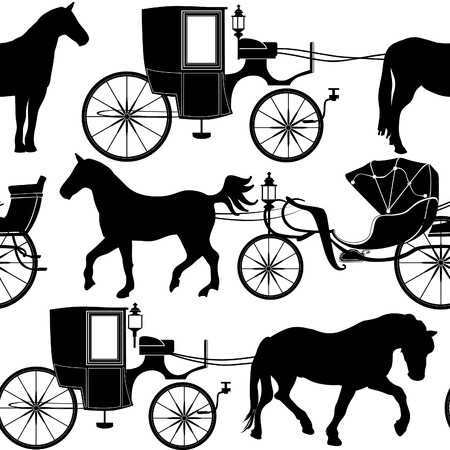 brown horse: Carrige seamless background. Vintage silhouette pattern.