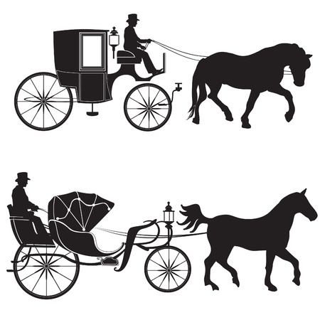 Carriage with horse. Hansom-cab set. Vector