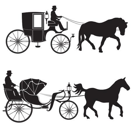 Wózek z konia. Kabina dorożką ustawiony.