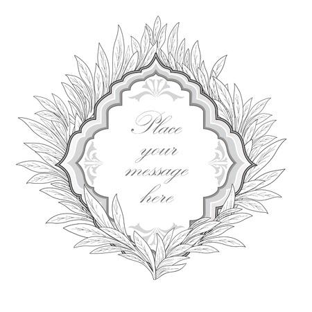 japanese motif: Floral frame. Leaves vintage border. Illustration