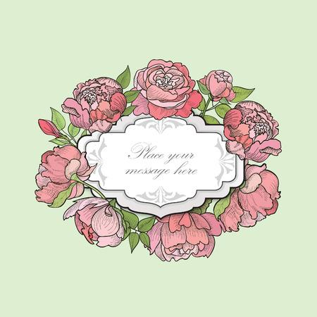 borde de flores: Marco de la flor. Frontera floral. Fondo florecer cosecha en estilo victoriano.