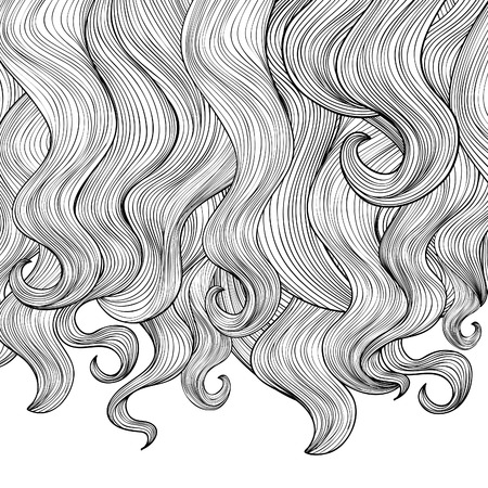 Hair background. Beautiful curly hair border