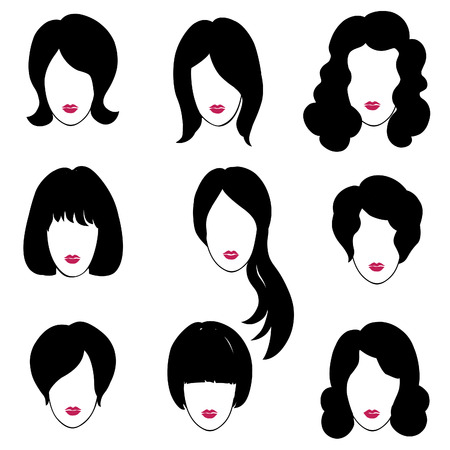 Hair styly set. Woman profiles. Girl silhouettes collection. Female beauty icons. Vector