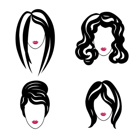 Hair styly icon set. Woman profiles. Girl silhouettes collection. Vector