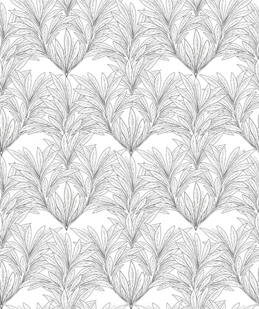 japanese motif: Abstract line seamless texture. Leaves pattern. Illustration