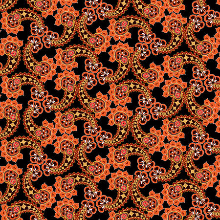 Abstract floral seamless pattern. Oriental asian lightning ornament. Colorful flower background Vector