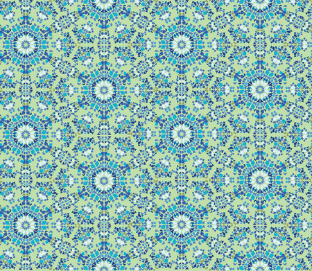 tiffany blue: Abstract floral seamless pattern. Oriental asian lightning ornament. Kaleidoscope background
