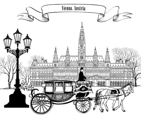 famous: Wien city view with rathaus and carriage.  Vienna street. Travel Austria card.
