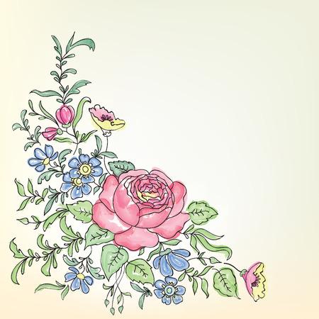 Blumenfeld. Floral Bouquet Grenze Standard-Bild - 36651100