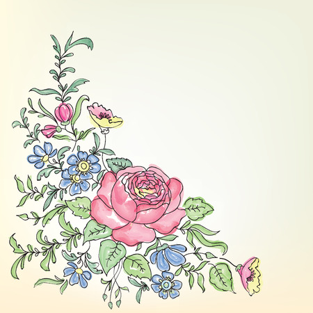 Floral frame. Floral bouquet border Illustration