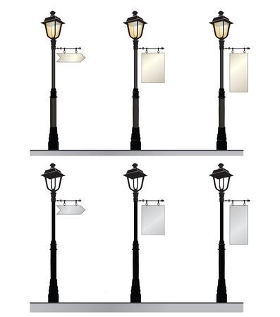 Street lamp set. Retro straatlantaarns met een bord voor reclame. Stock Illustratie