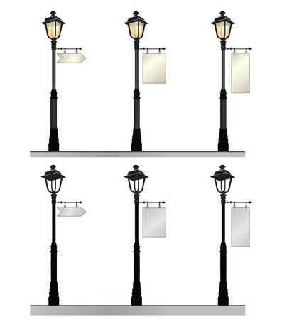 and streetlights: Street lamp set. Retro street lights with a sign for advertising. Illustration