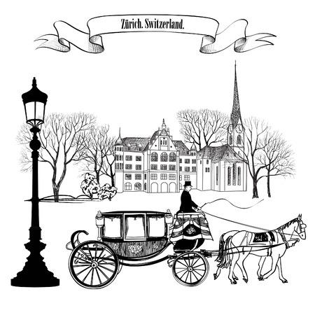 말과 함께 건물, 공원 나무, 가로등과 마차와 오래 된 거리 골목길입니다. 취리히 도시. 스위스.