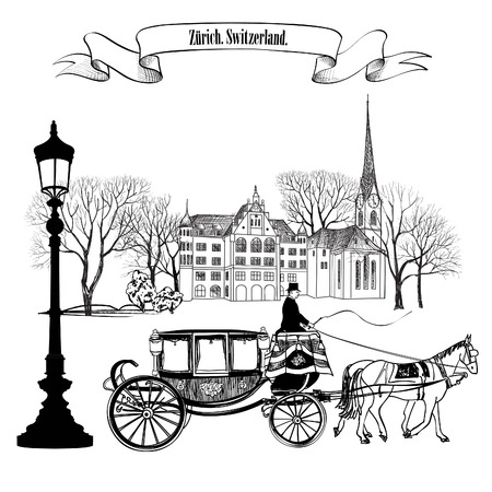 draw: Old street alleyway with buildings, park trees, street lamp and carriage with horse. Zurich city. Switzerland.