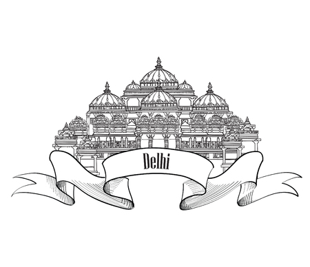 Delhi travel label.  Indian Landmark symbol. Akshardham, Delhi, India.