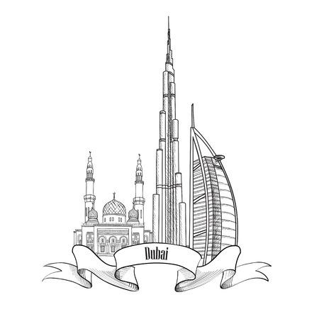 emirates: Travel UAE symbol. Dubai city label.