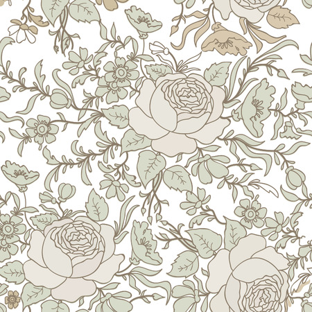 Floral seamless background. Decorative flower pattern. Floral seamless texture with leaves. Vector