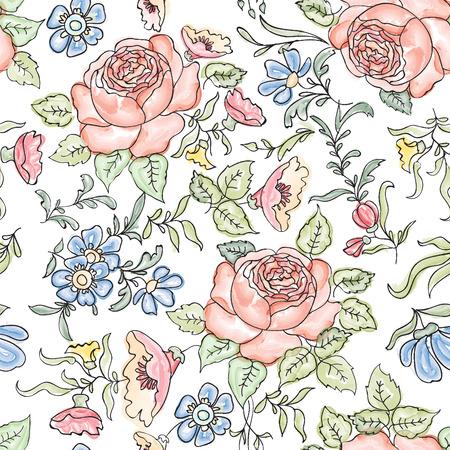 borde de flores: Fondo floral sin fisuras. Patr�n de flores.