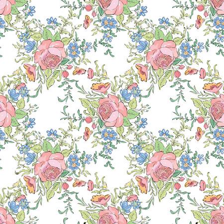 borde de flores: Fondo floral sin fisuras. Patr�n decorativo de la flor. Textura incons�til floral con las hojas.