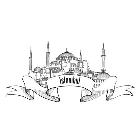 Étiquette Istanbul. Voyage symbole Turey. Main dessinée historique Sainte-Sophie.