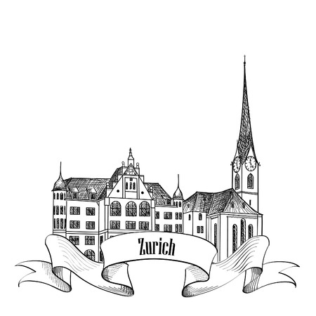 minster: Zurich. City landmark label. Symbol of the capital of Switzerland. Illustration
