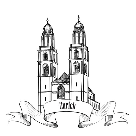 minster: Zurich. City landmark Great Minster label. Symbol of the capital of Switzerland.