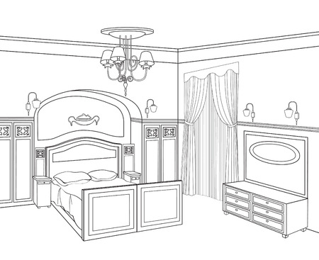 pencil drawn: Bedroom furniture. Retro style room. Editable outline sketch of a interior. Graphical interior.