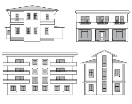facade building: Building facade set. Architectural outline illustration. Houses