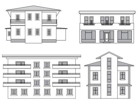 Fachada: La construcción de conjunto de la fachada. Ilustración del esquema arquitectónico. casas Vectores
