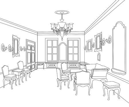 Interior outline sketch furniture blueprint architectural design interior outline sketch of living room vector malvernweather Choice Image