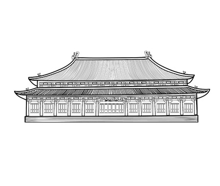 pavilion: Asian pavilion buidling. House in asian China style. Chinese architectura. Illustration