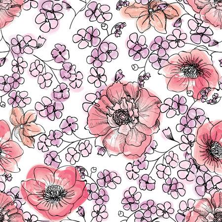 borde de flores: Fondo del modelo de flor incons�til floral. Vectores