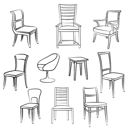 Furniture set. Interior detail outline collection: chair, armchair, stool.