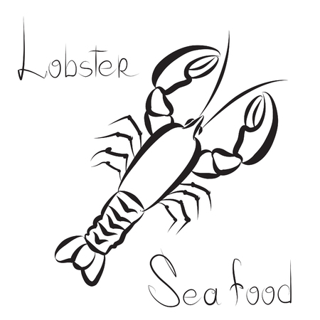 lobster: Lobster icon. Sea food menu label. Fish restraunt cover background.