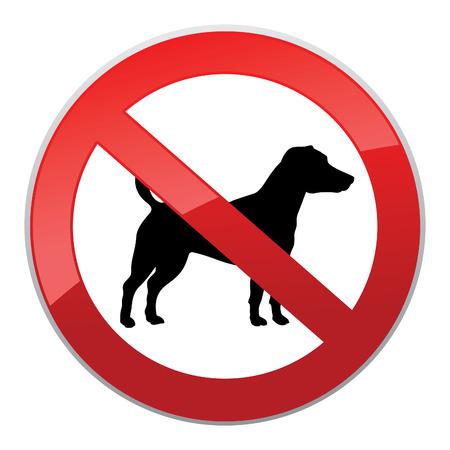 illegal zone: No dog sign. Dog walking fobidden symbol.