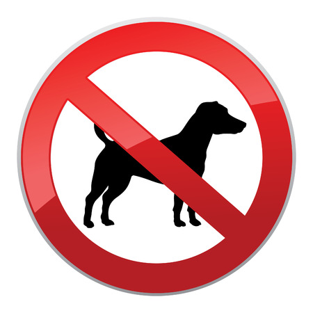 No dog sign. Dog walking fobidden symbol.