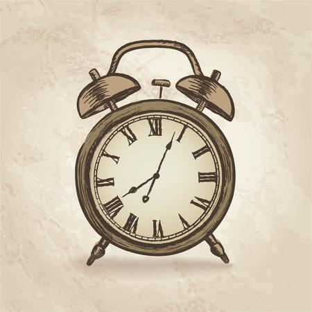 Clock concept in retro style. Watch vintage. Vector