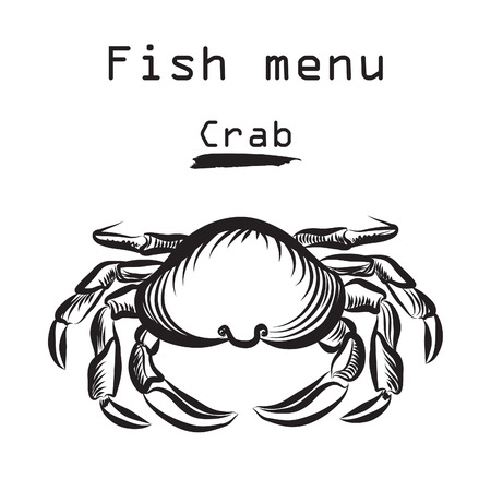crab: Crab icon. Sea food menu label. Fish restraunt cover background.