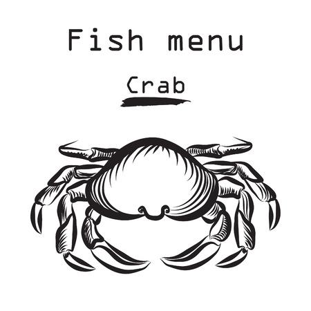 cangrejo: Icono del Cangrejo. Etiqueta de menú de comida de mar. Fondo de la cubierta restraunt Fish. Vectores