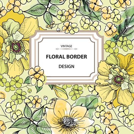 Floral border. Flower background. Vintage flourish spring card or cover.