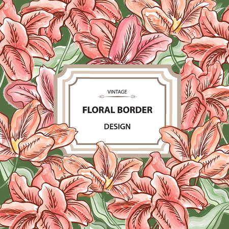 Floral border. Flower bouquet background. Vintage flourish spring card or cover. Vector