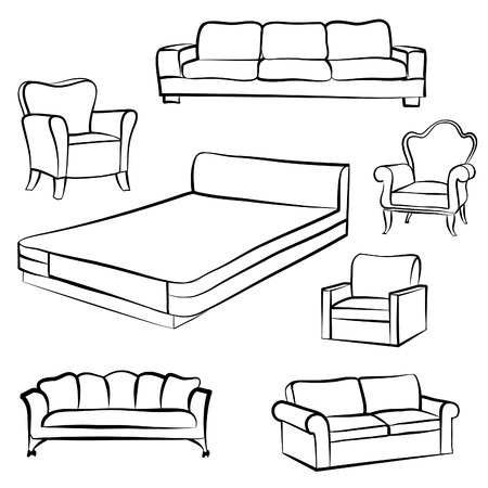 tables: Furniture set. Interior  detail outline collection: bed, sofa, settee,armchair. Illustration
