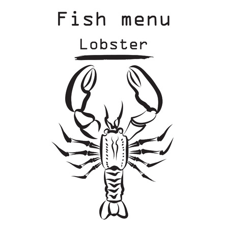 Lobster icon. Sea food menu label. Fish restraunt cover background. Vector
