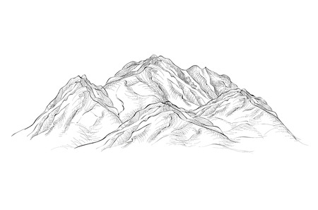 Mountains illustration. Engraving sketch. Vector