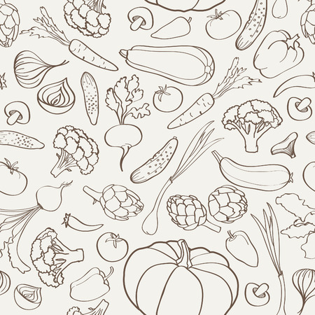 Food ingredient seamless background. Vegetable pattern.